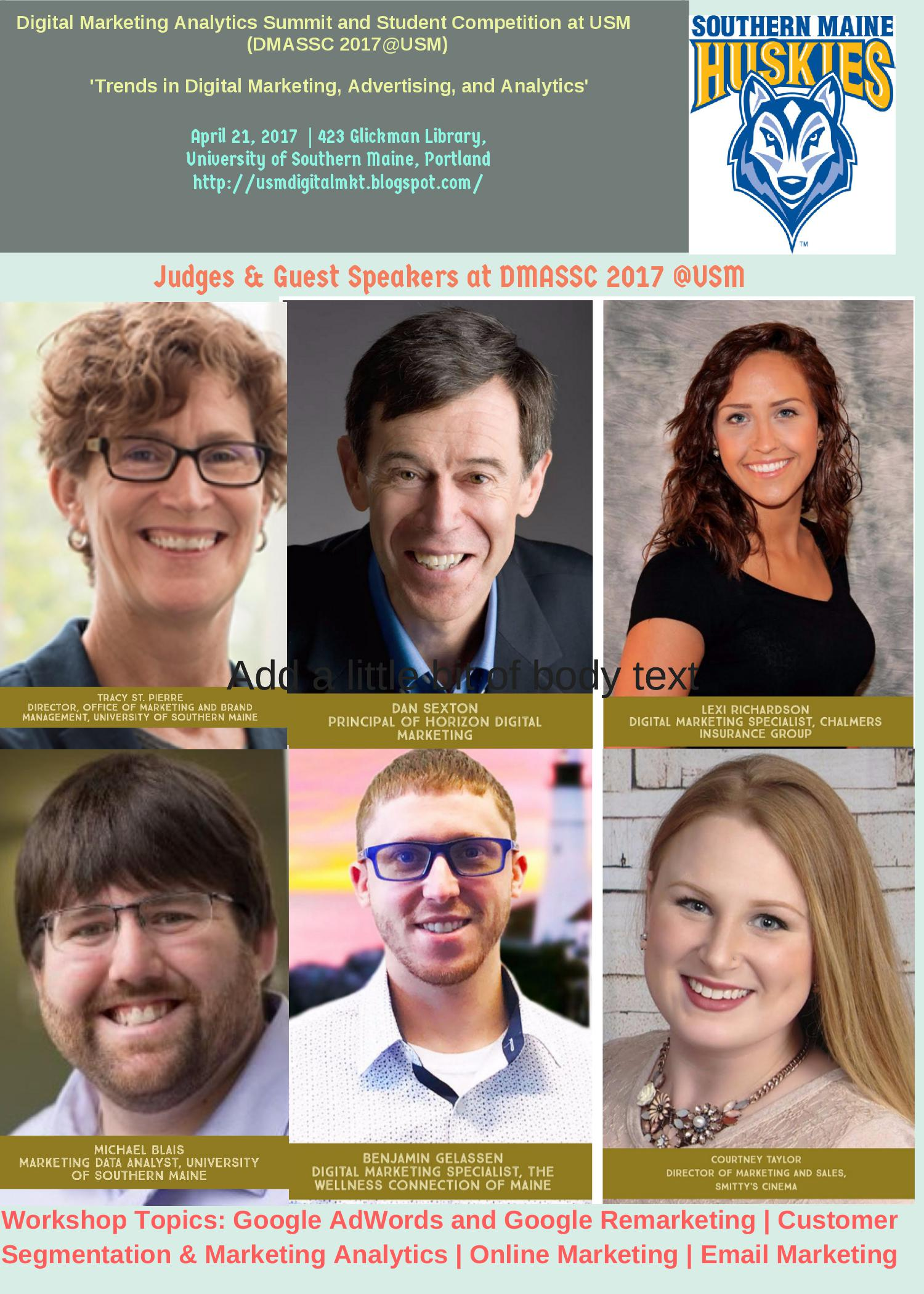 Judges & Guest, Speakers Digital Marketing Analytics Summit & Student Competition