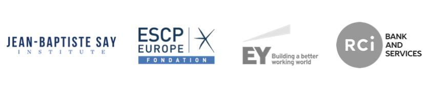 Logos de l'Institut Jean-Baptiste Say, ESCP Europe, RCI & EY