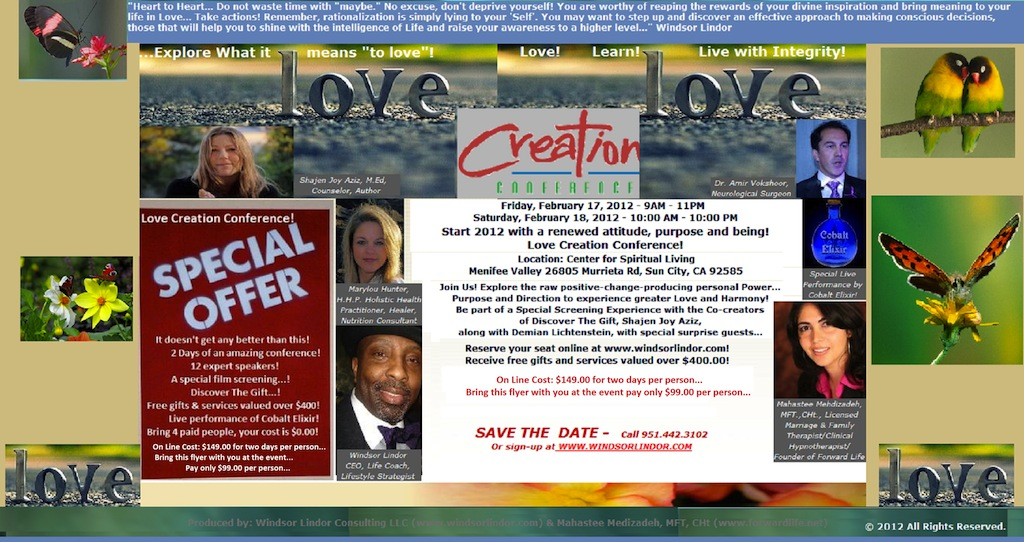 The Love Creation Conference 2 Day Event coming February 17 & 18, Sign up here for online deals!