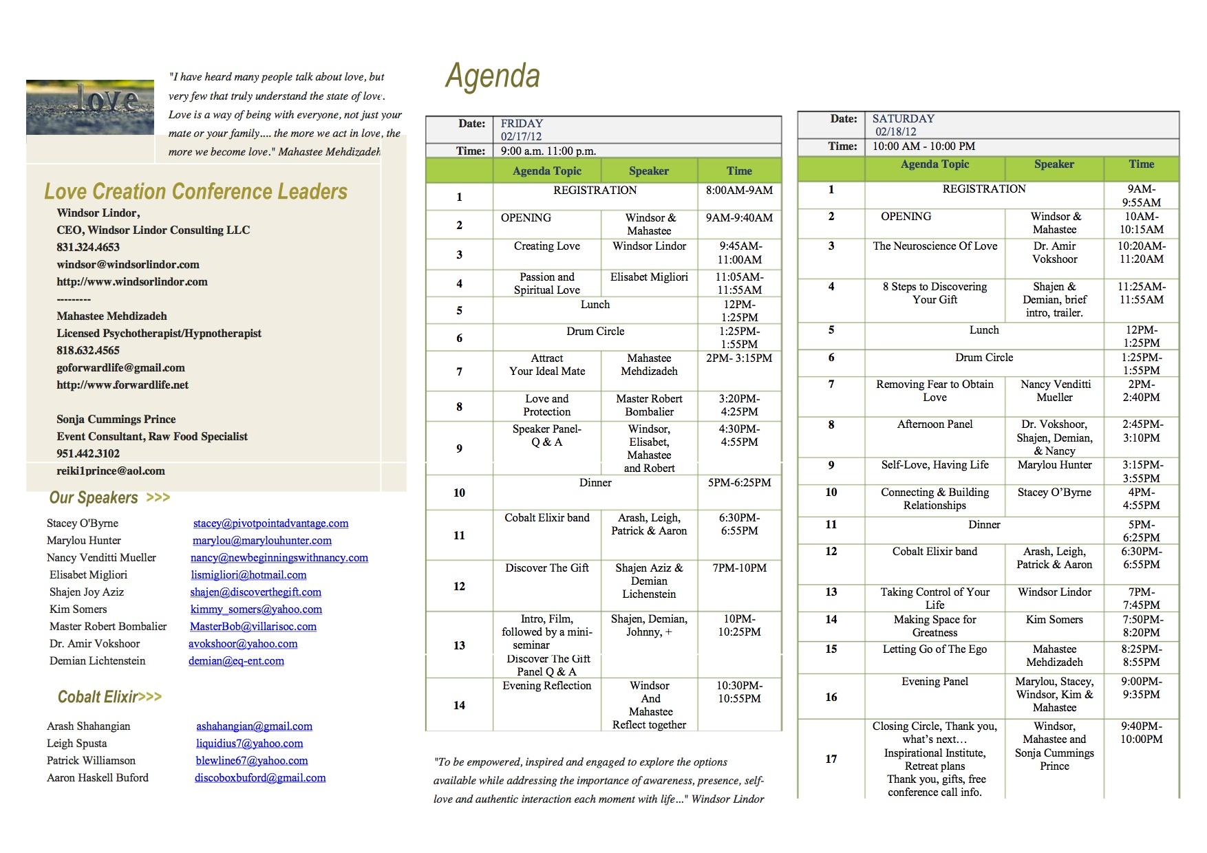Love Creation Conference Program Schedule