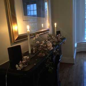 dining room with candles