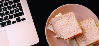laptop and sandwich