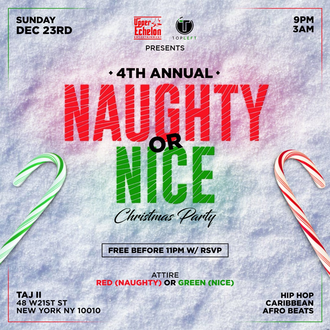 4th Annual Naughty or Nice Christmas Party Tickets, Sun, Dec 23 ...