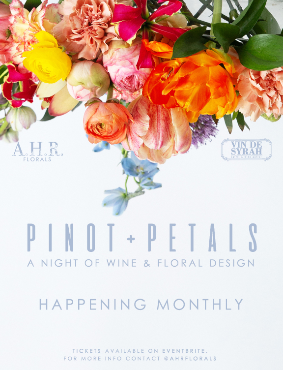 pinot and petals ahr florals wine and floral design