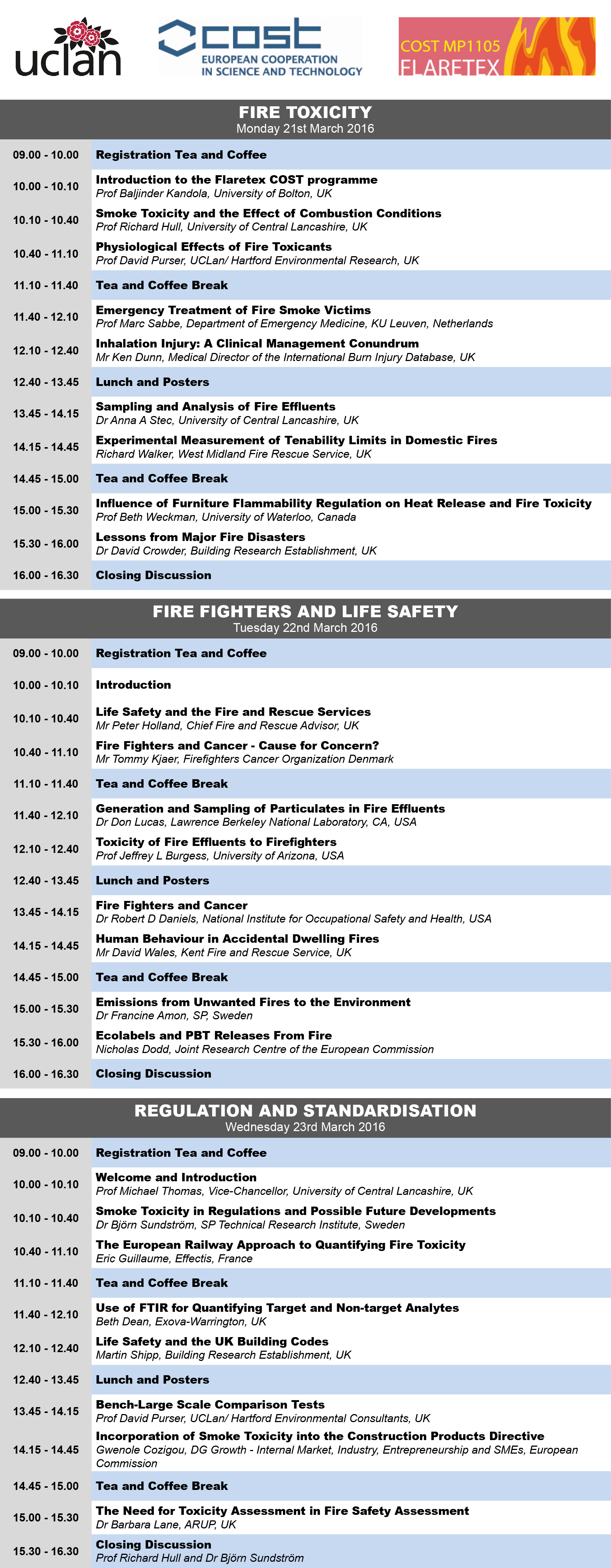 Fire Toxicity 2016 Programme