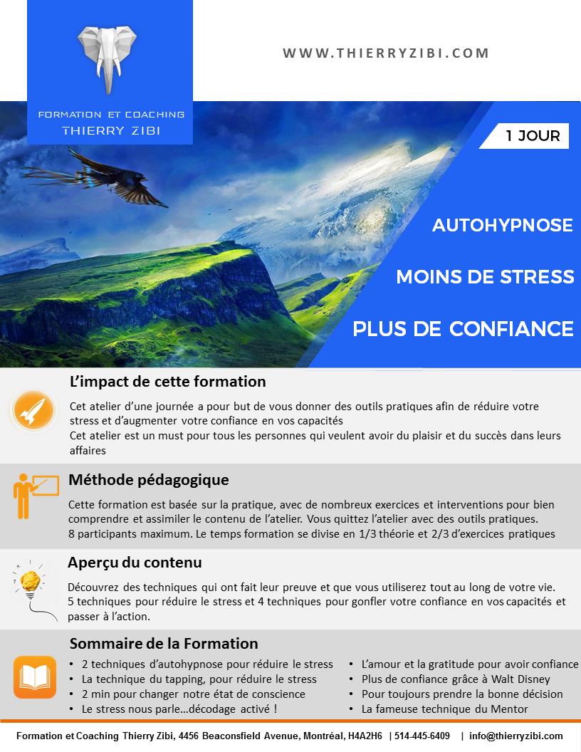 description atelier d'autohypnose: Moins de stress , Plus de confiance