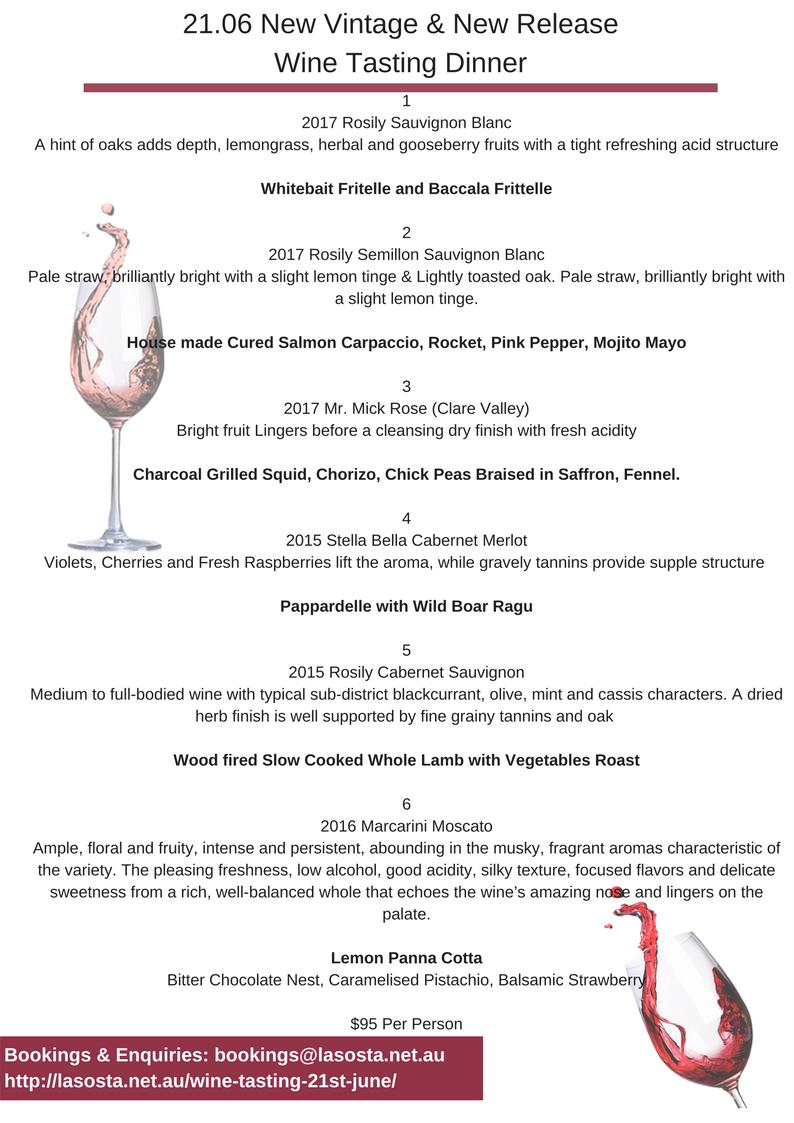 Wine Tasting Wine list and Menu