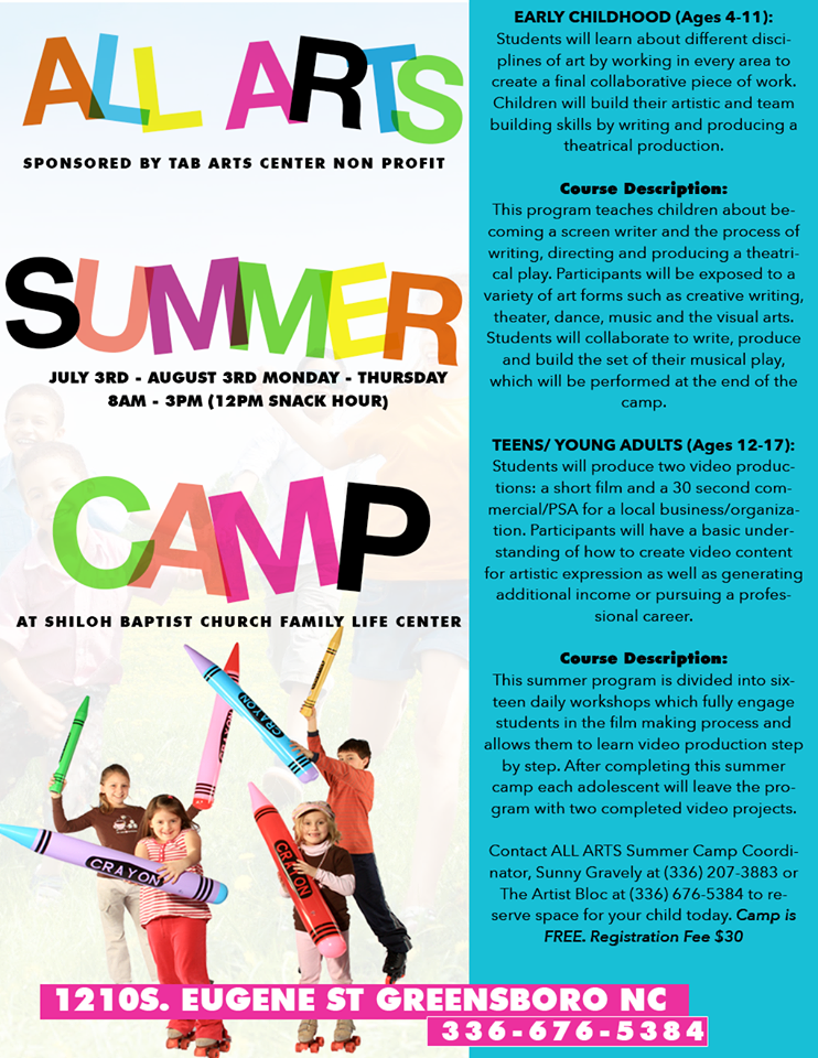 TAB Arts Center ALL ARTS Summer Camp is for children of all ages.  Students will learn about film, music, visual art, dance and theater.