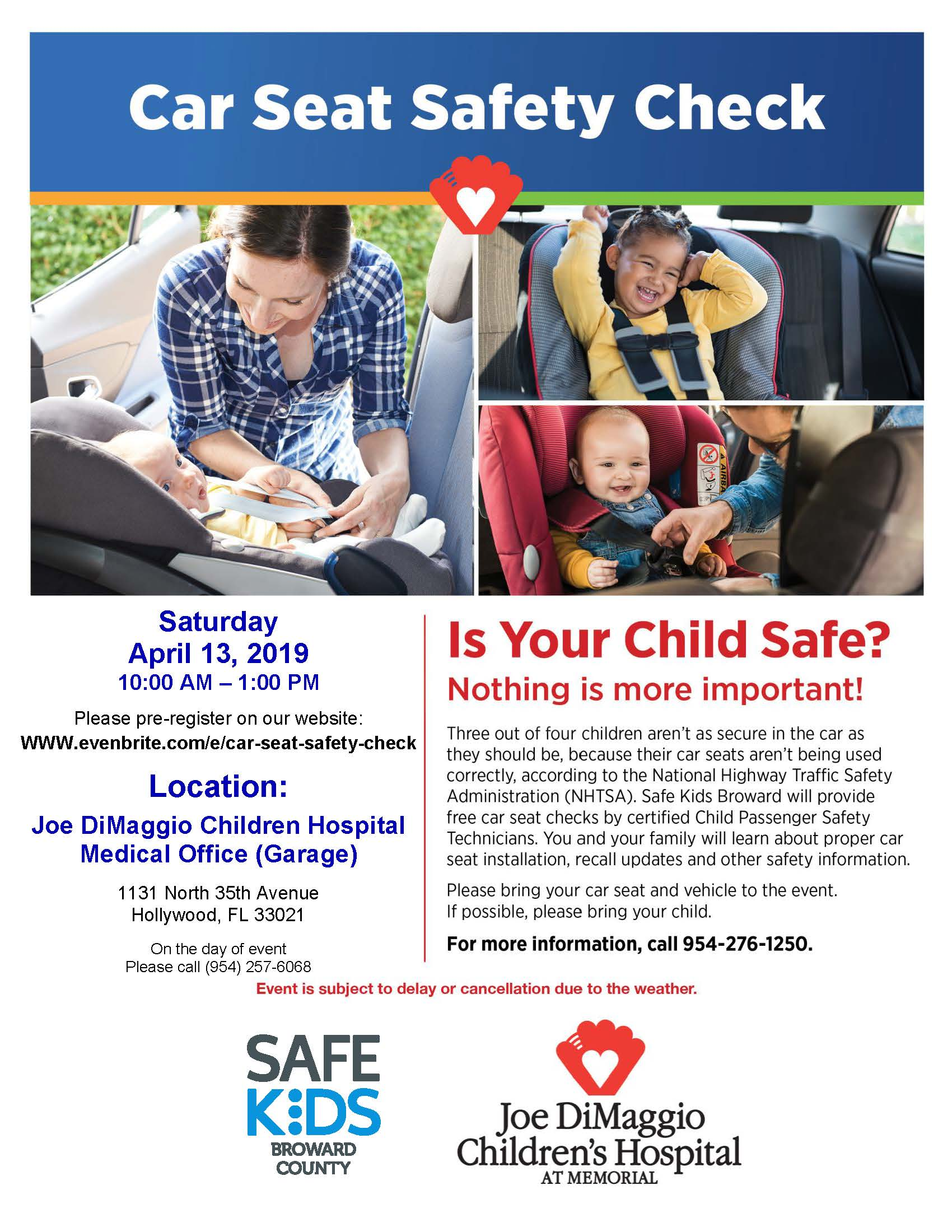 Flyer for Car Seat Safety Check