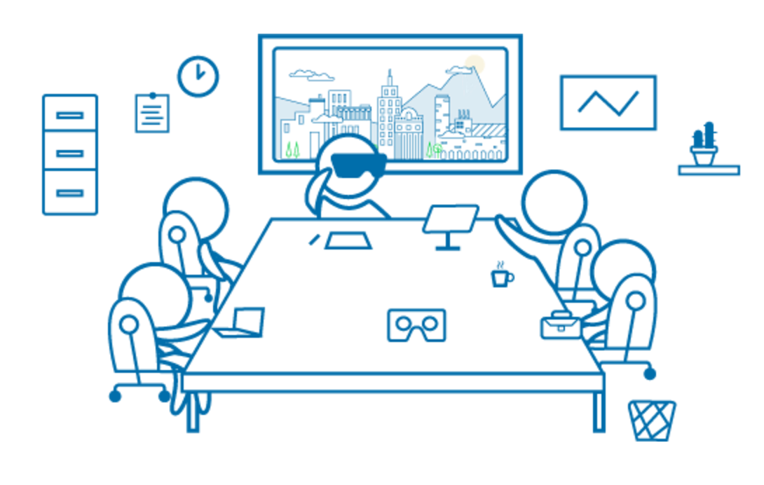 Outline Drawing of Business Meeting Using VR Goggles