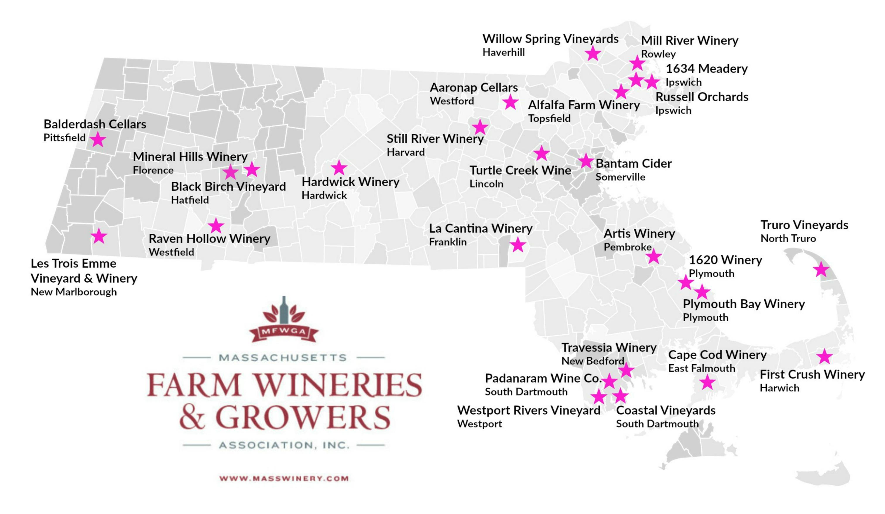 map of Massachusetts wineries