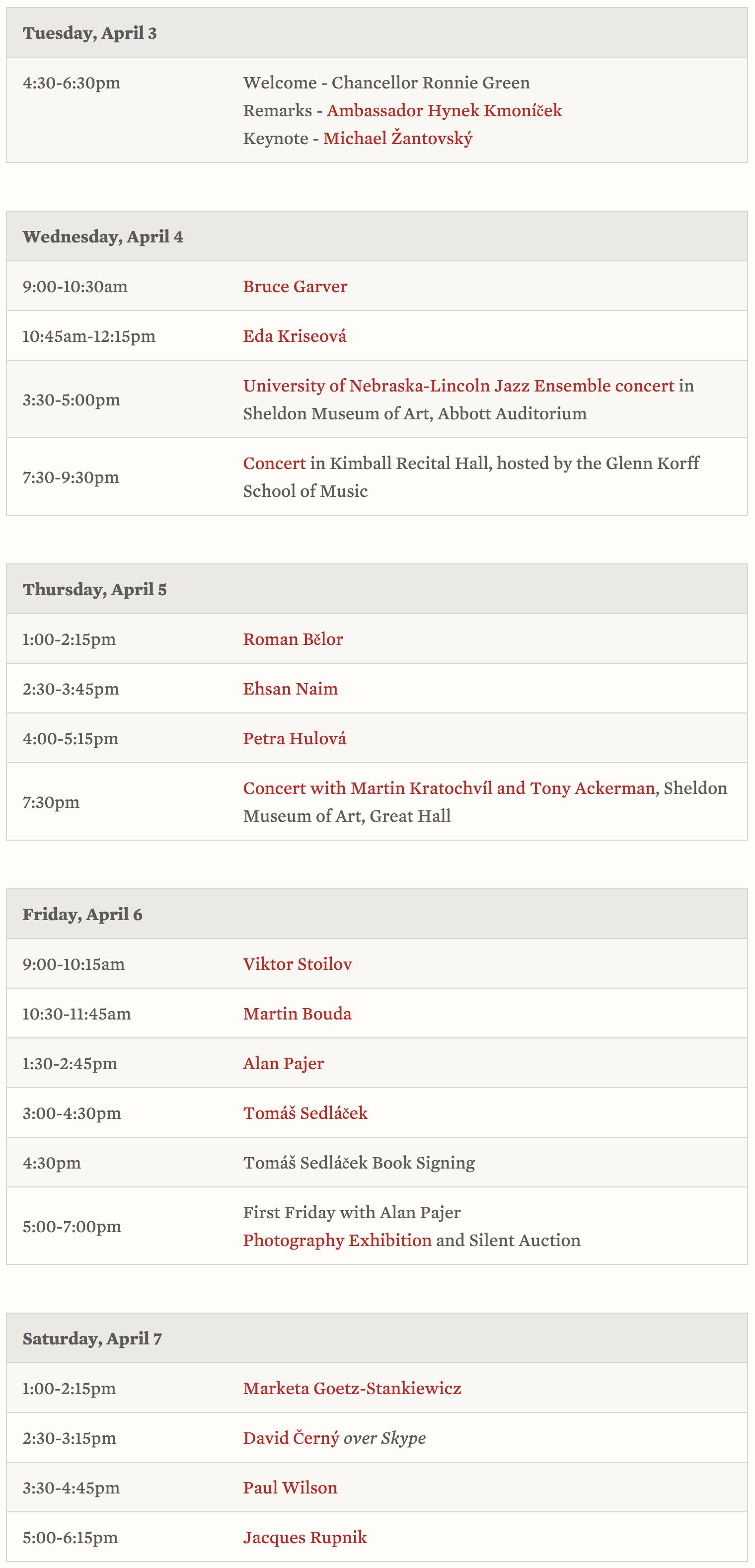 Prague Spring 50 Schedule