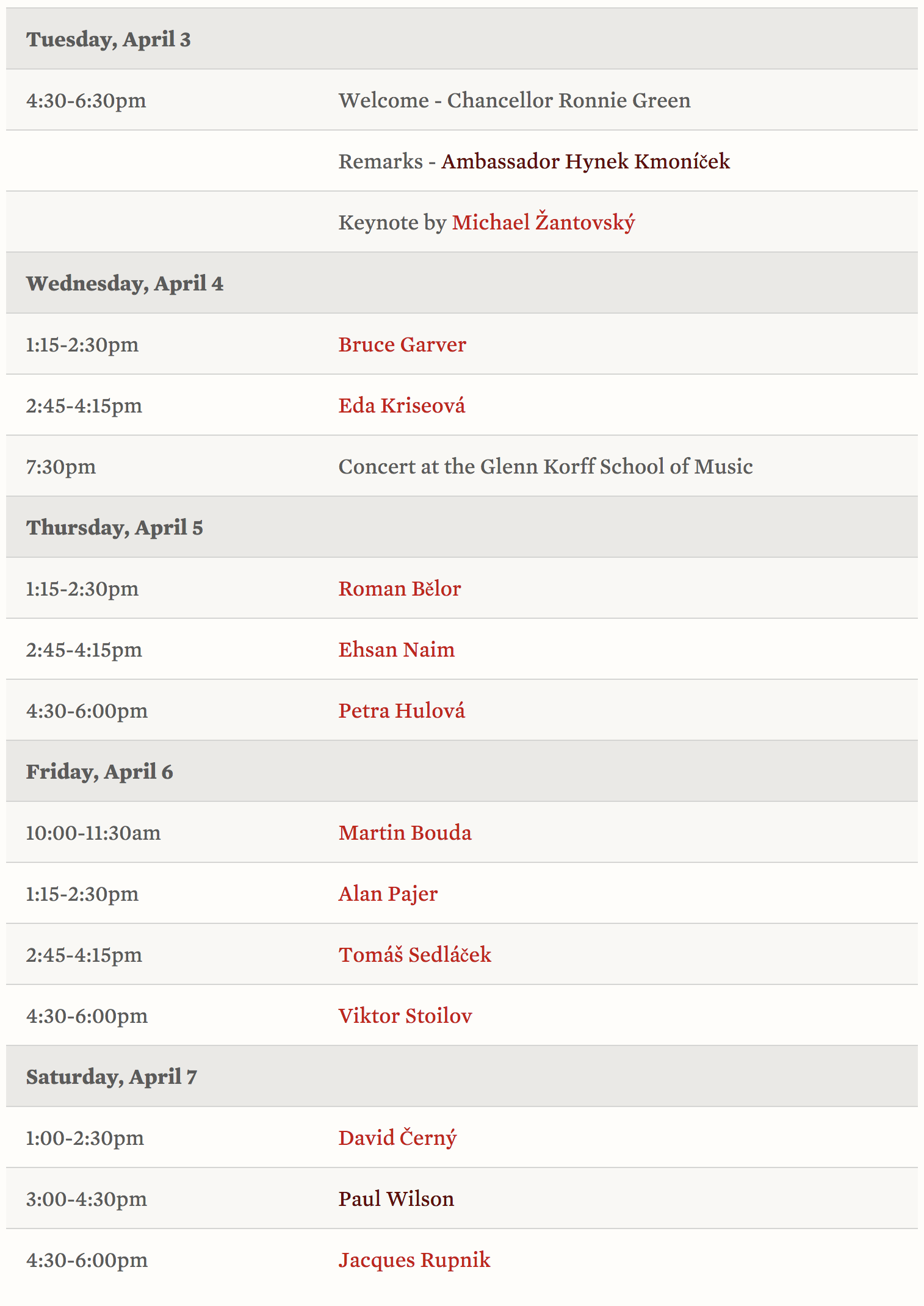 Prague Spring 50 Schedule of events