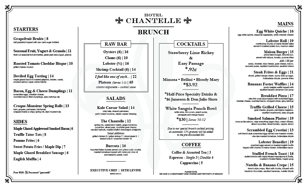 Brunch menu March 2014