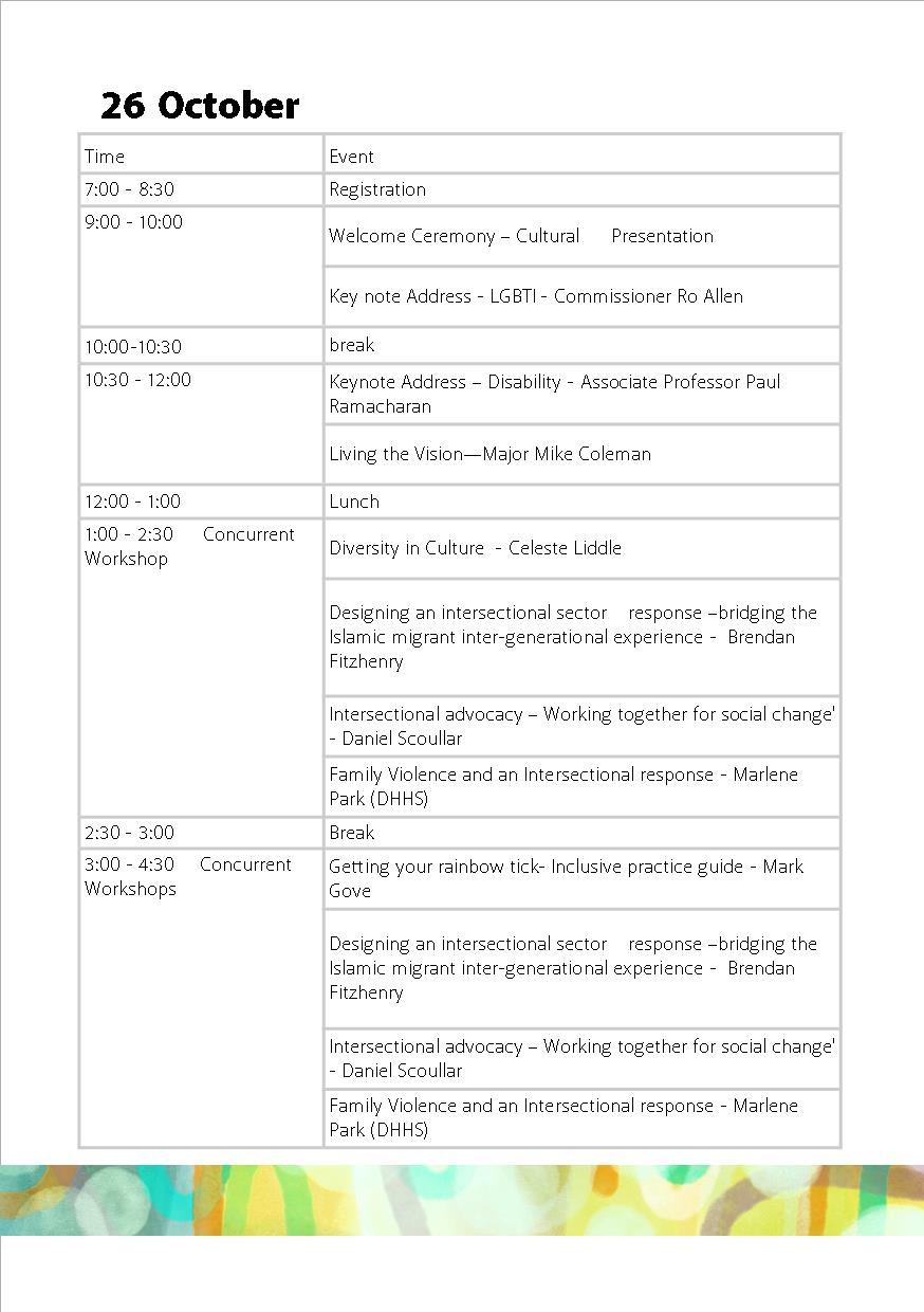 26 Oct Timetable