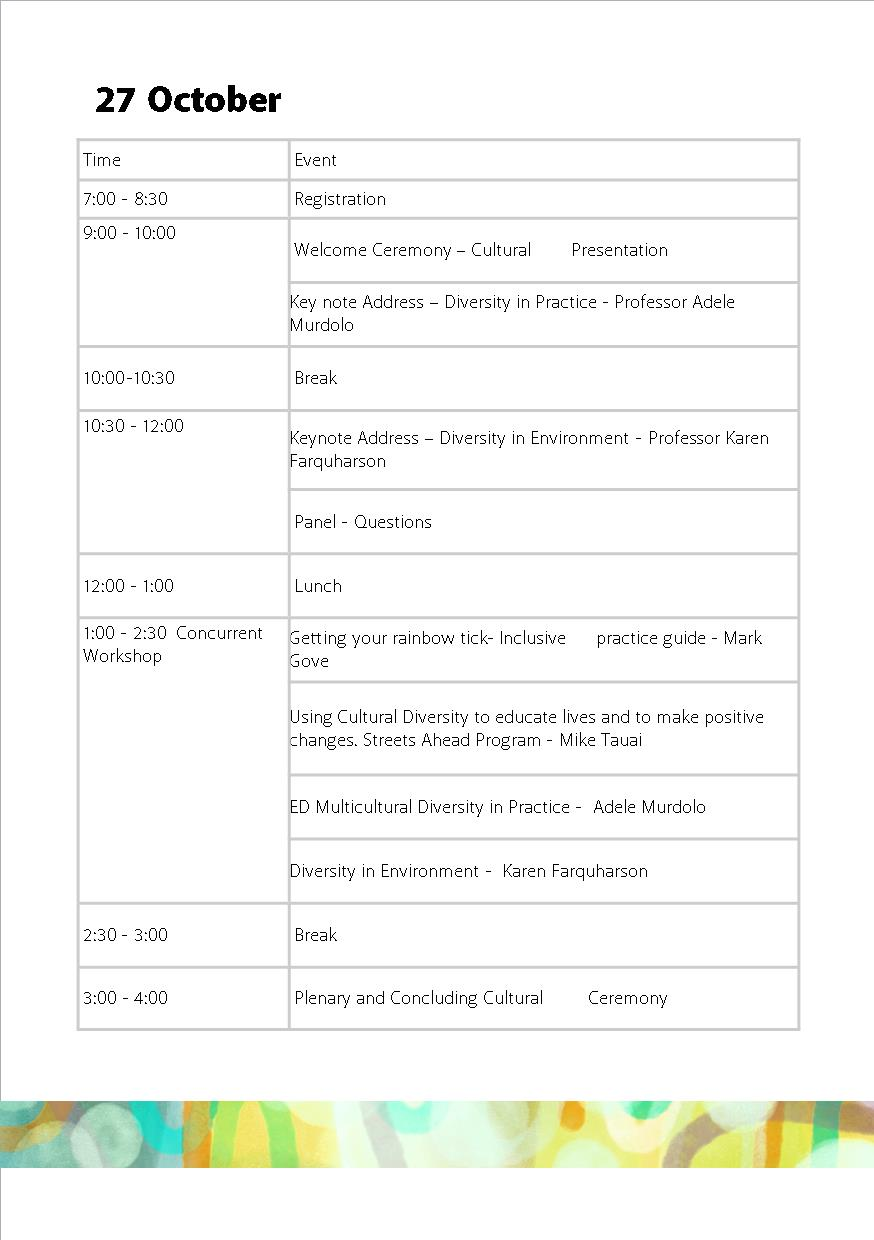 27 Oct Timetable