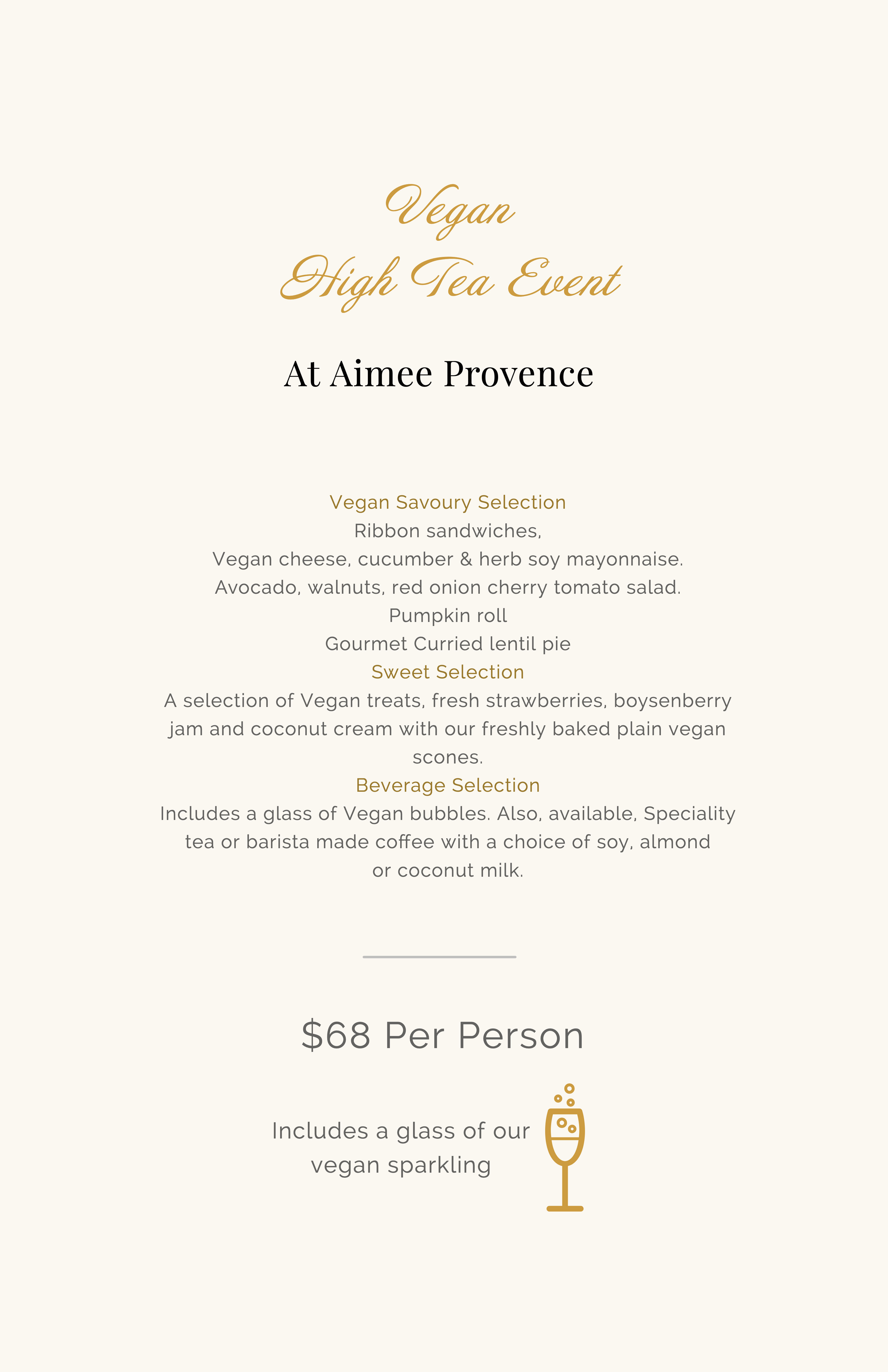 vegan high tea menu