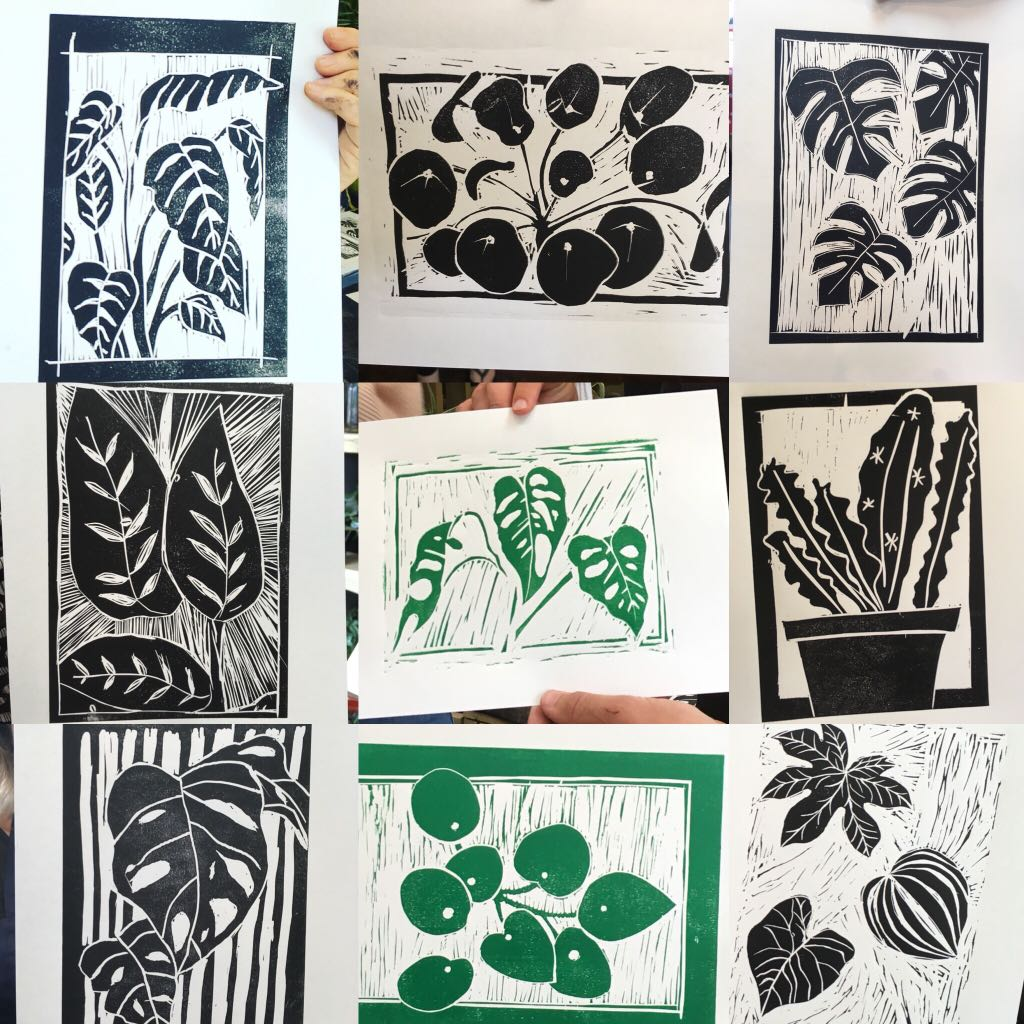 lino cutting and printing