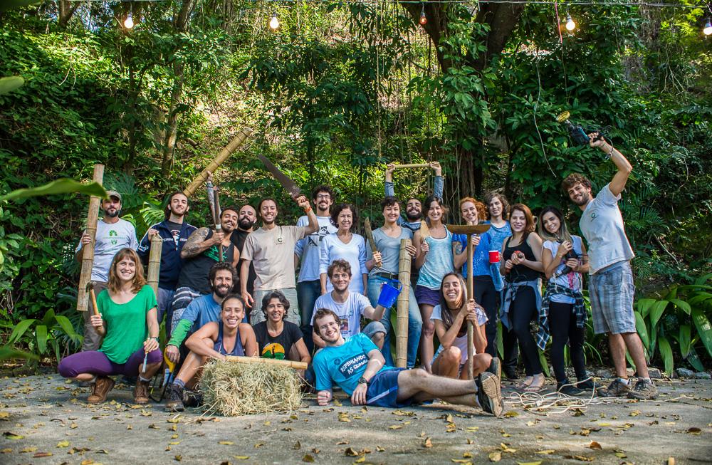 Foto grupal do curso Bioconstrução 2017