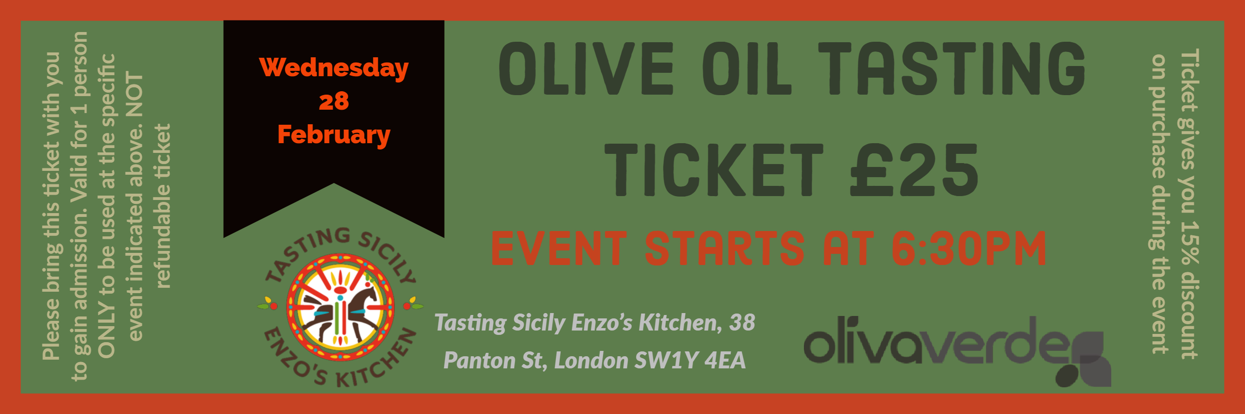 Ticket 28th Feb Olive Oil Tasting