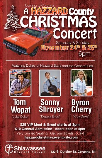 A Hazzard County Christmas Concert, coming to Corunna, MI