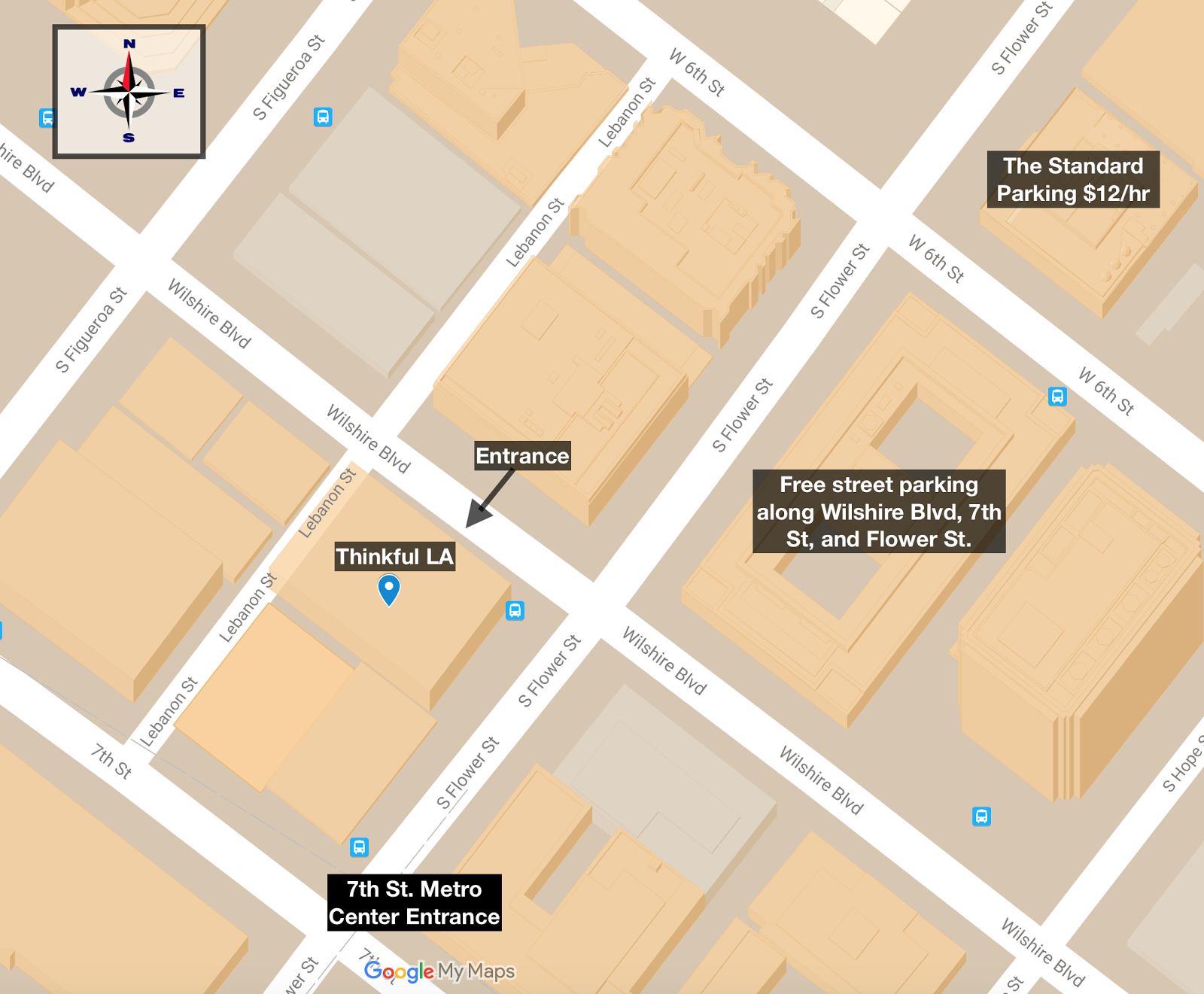 Directions for Cross Campus Downtown LA