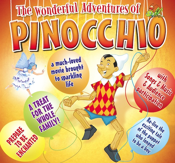 Pinocchio poster image - a boy puppet surrounded by balloons with sayings such as