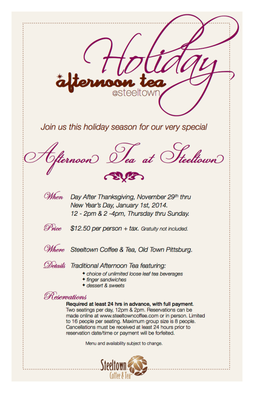 Holiday Afternoon Tea Information
