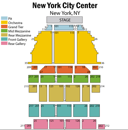New York City Center Seating Map