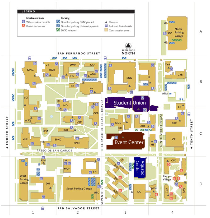 The student union building is indicated on the map.