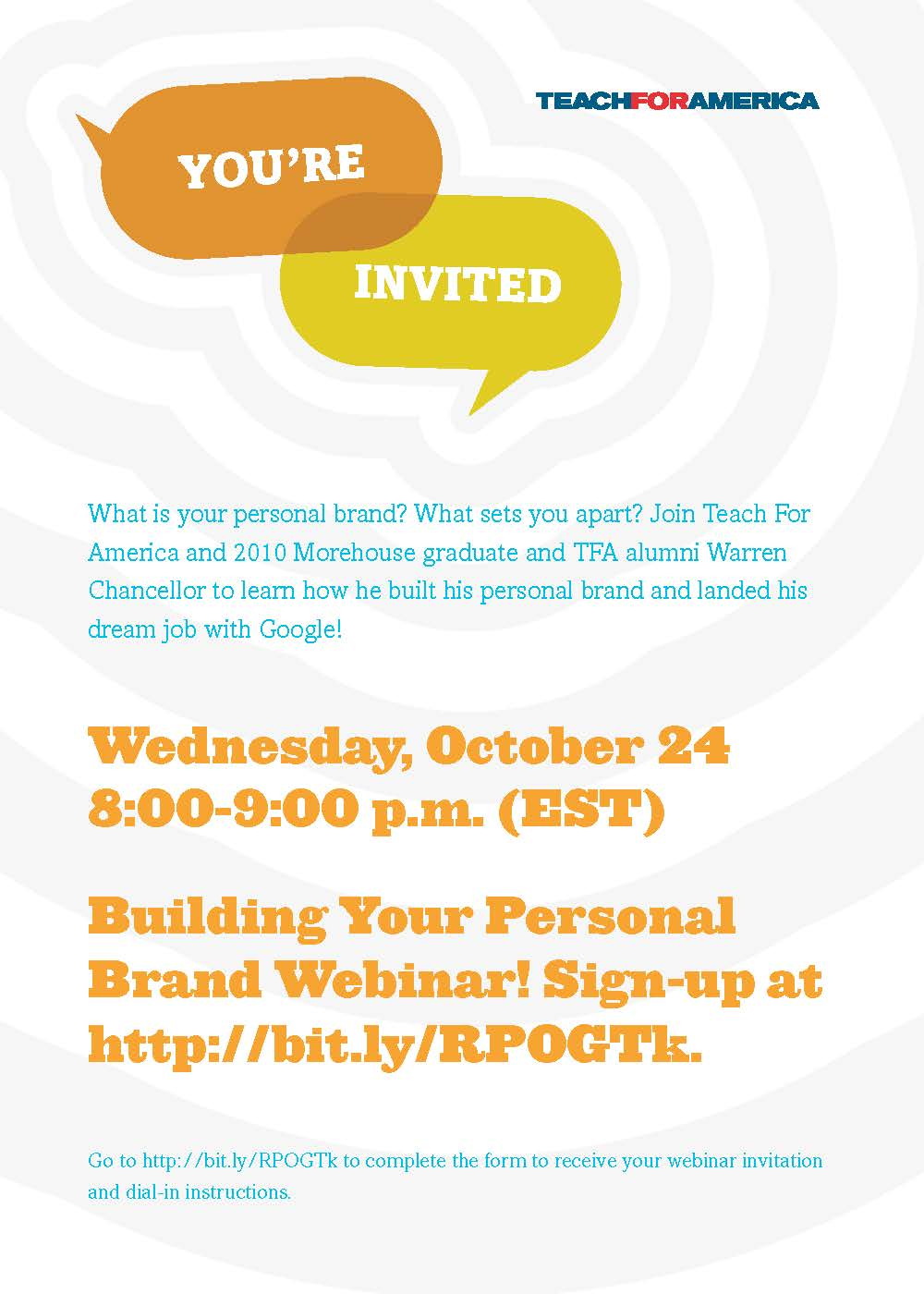 Teach for America Building Your Personal Brand Invite