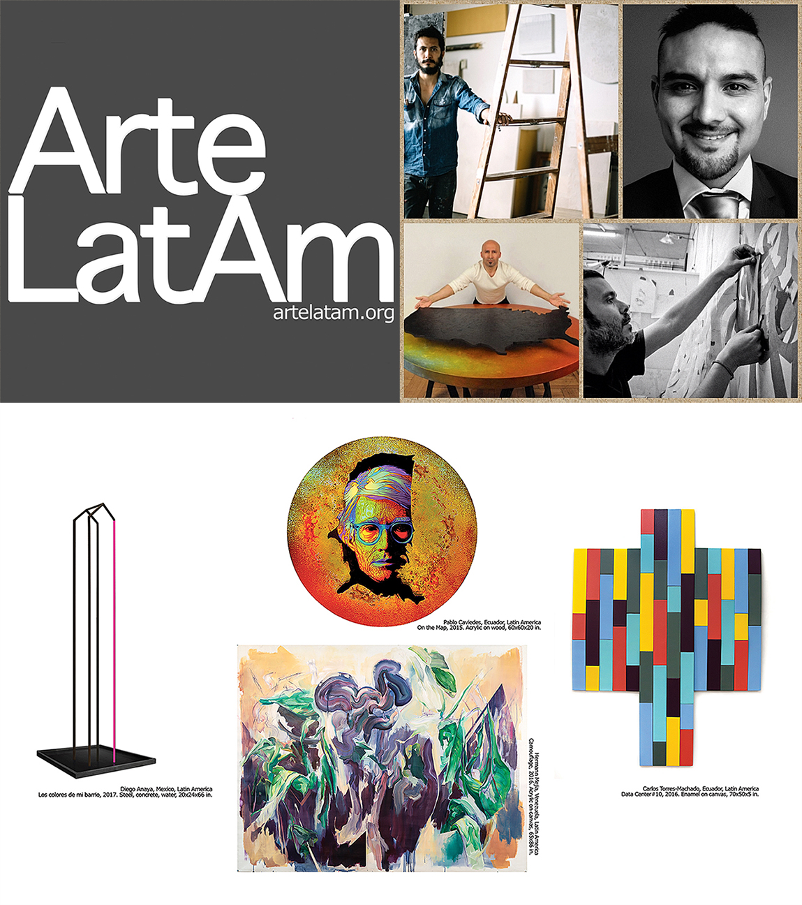 ArteLatAm exhibition painting gallery collector latinamerican art New York Pablo Caviedes, Diego Anaya, Hermann Mejia Carlos Torres-Machado