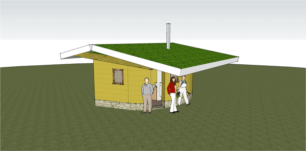 Architectural drawing of Crown Point straw bale intern house