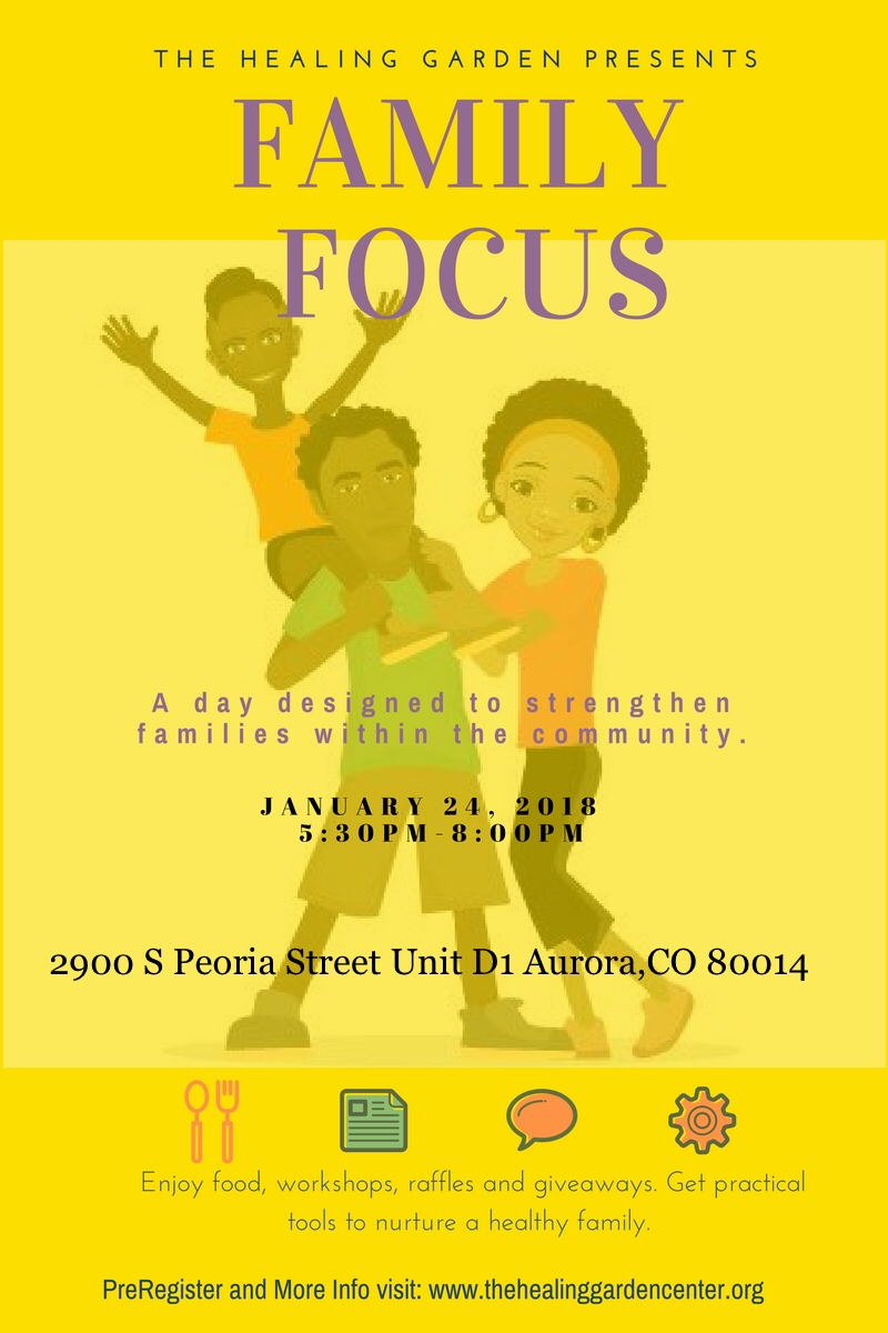 Yellow Flyer for Family Focus event with picture of father, mother and child smiling