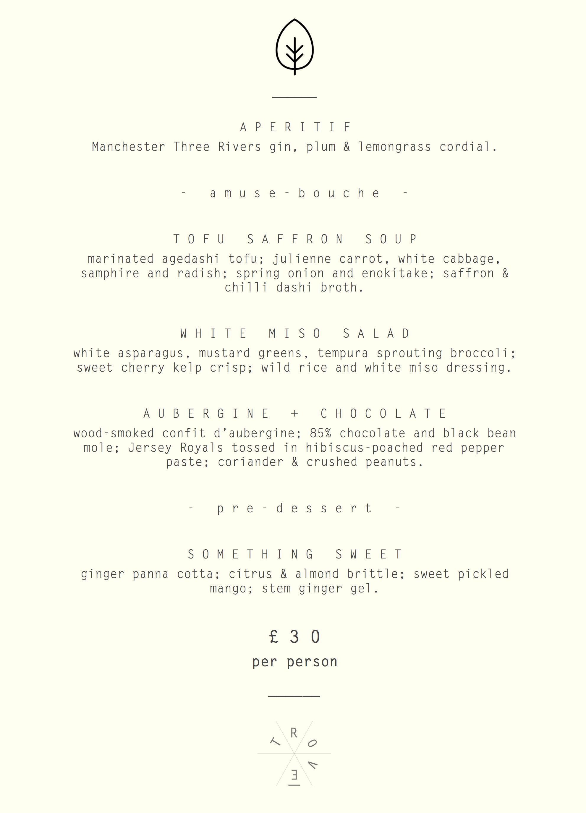 Trove menu - 24th May 2017