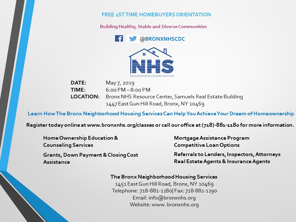The Bronx Nhs First Time Home Buyer Orientation Free Tickets Tue