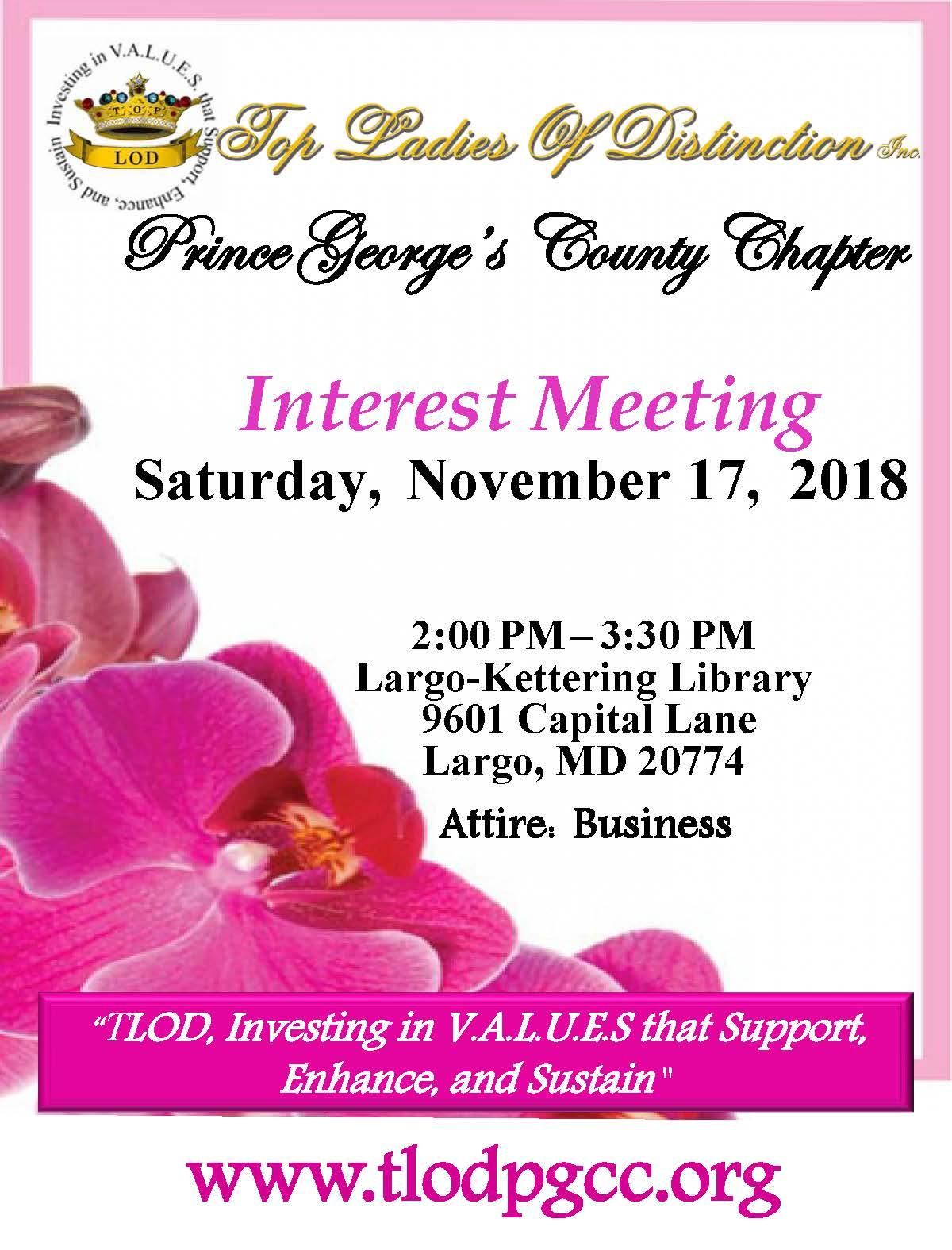 interest meeting top ladies of distinction prince george's