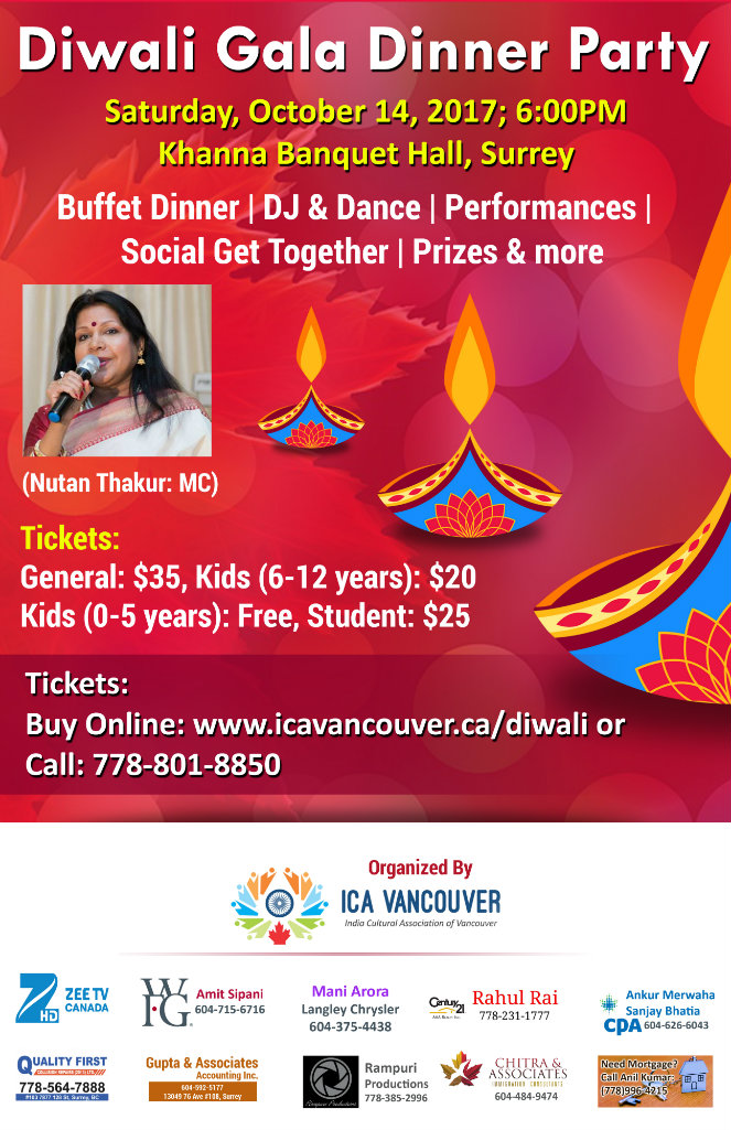 ICA Vancouver Diwali Poster
