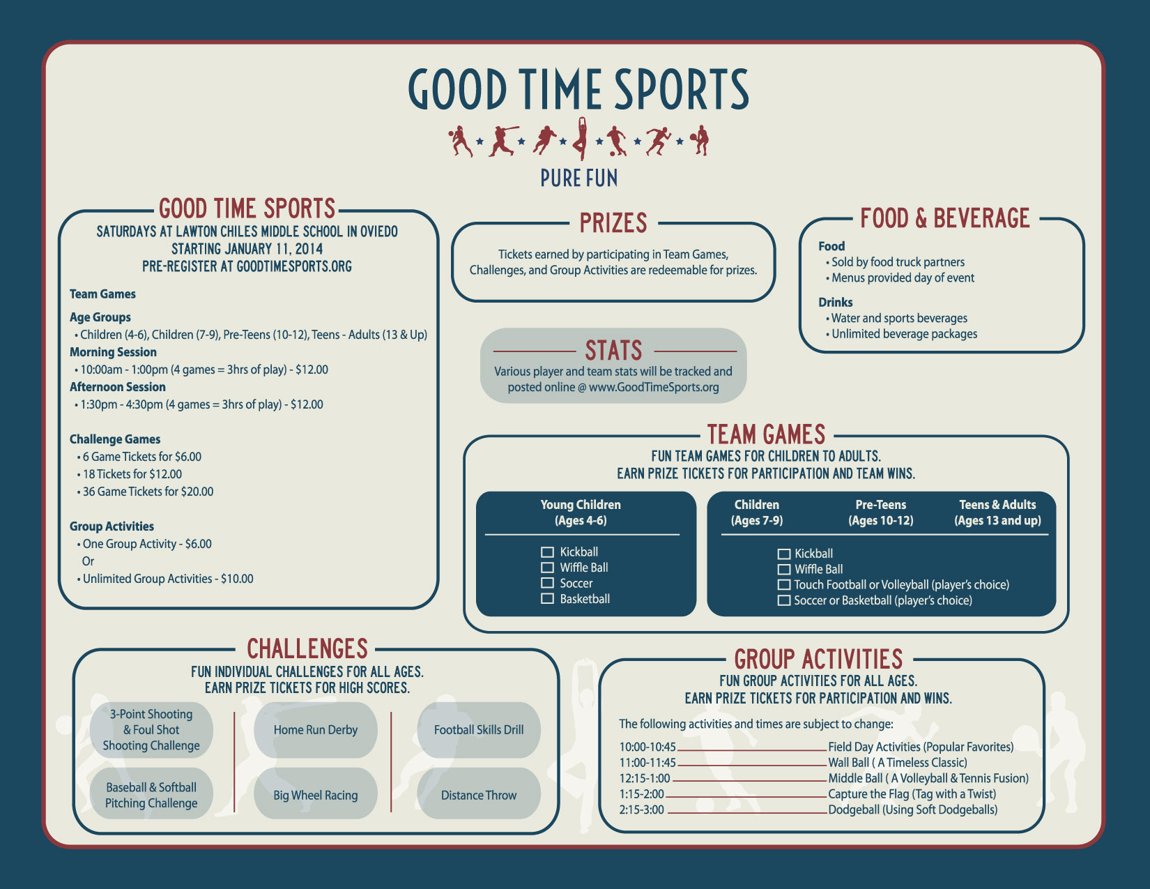 Good Time Sports - Games, Prices, Times