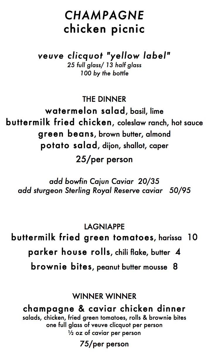 menu with wine