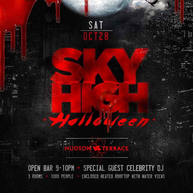 Sky high halloween at hudson terrace open bar 9 10 for Terraces opening times