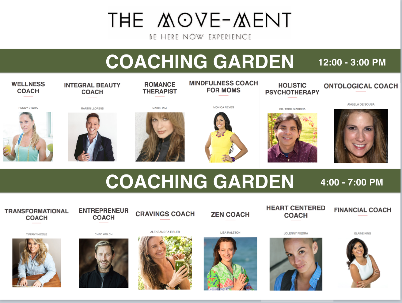 The Move-ment Be Here Now Experience coaches
