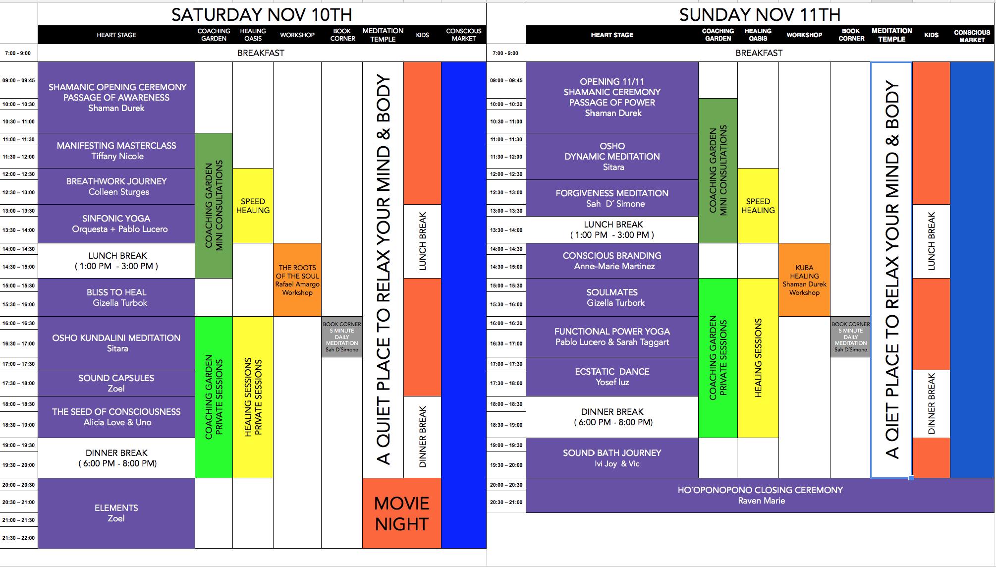 the move-ment schedule costa rica nov 2018