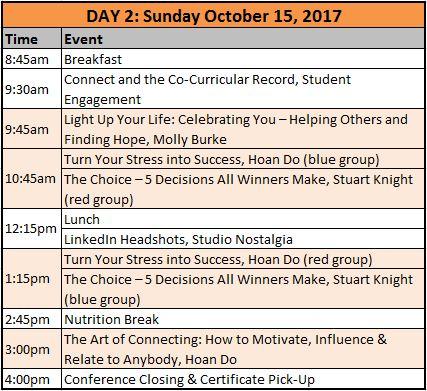 Schedule, Day 2