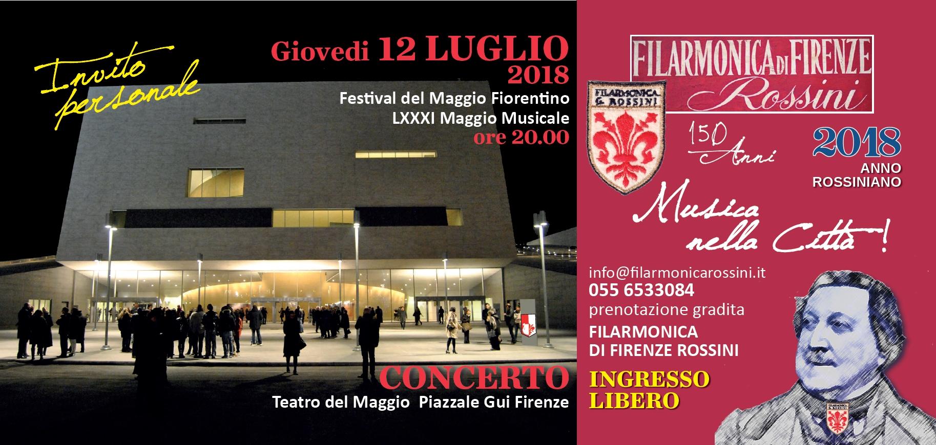 Teatro del Maggio in notturna e riferimenti Concerto