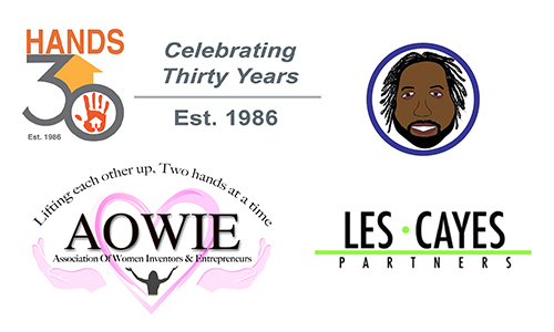 Hands Logo, Les Cayes Partners Logo, Ihsaan Marketing Logo, and AOWIE Logo