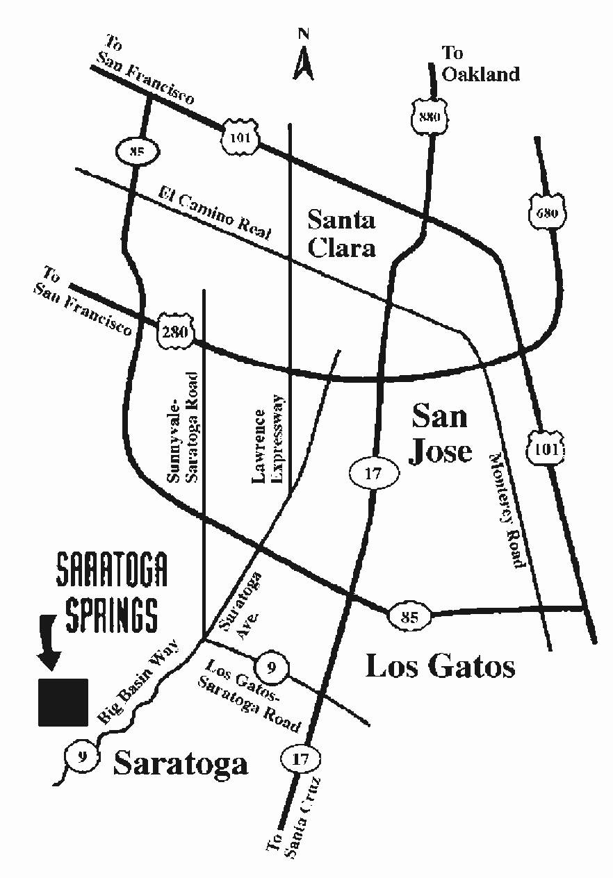 Map to Saratoga Springs