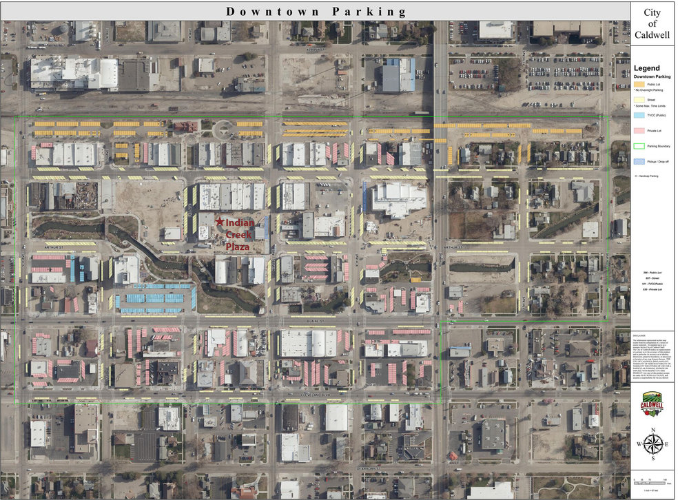 Downtown Caldwell Parking Options Map