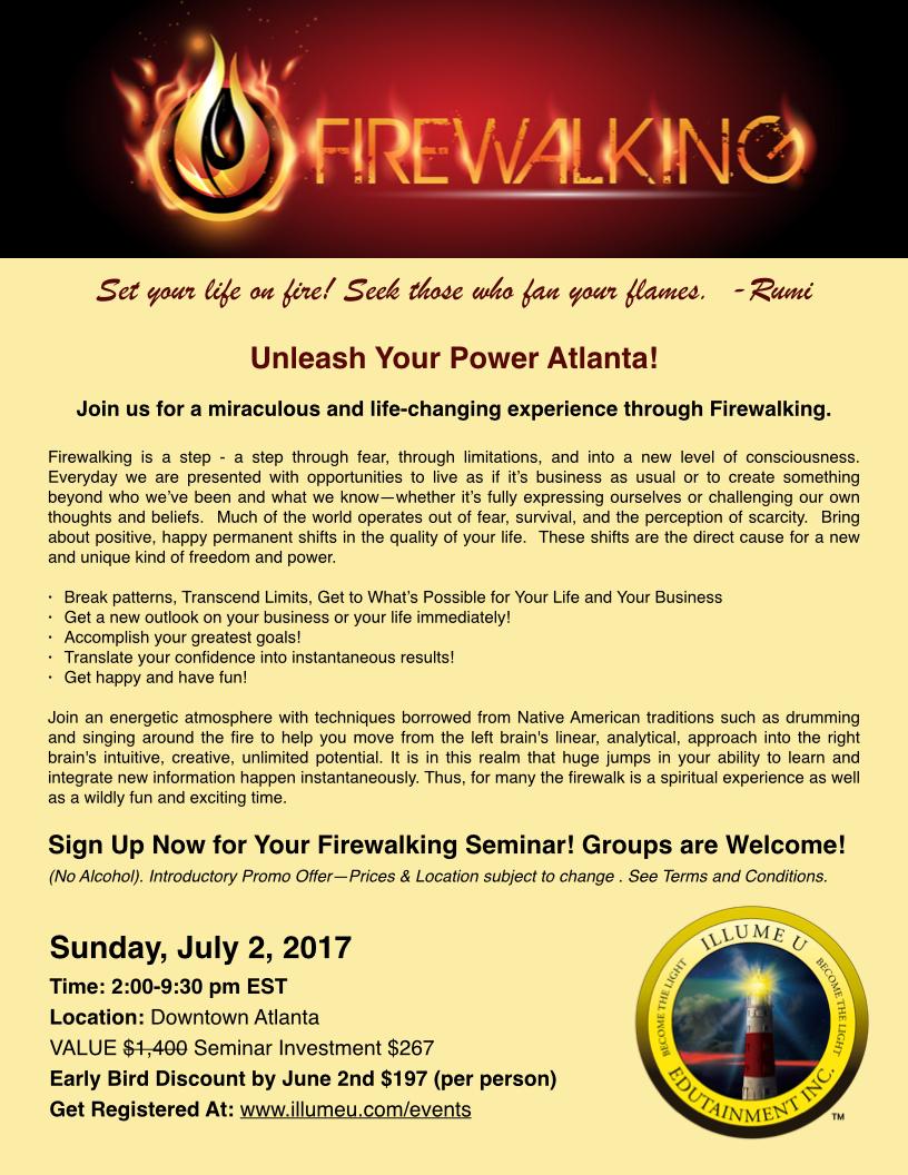 Firewalking Seminar Sat August 26-2017