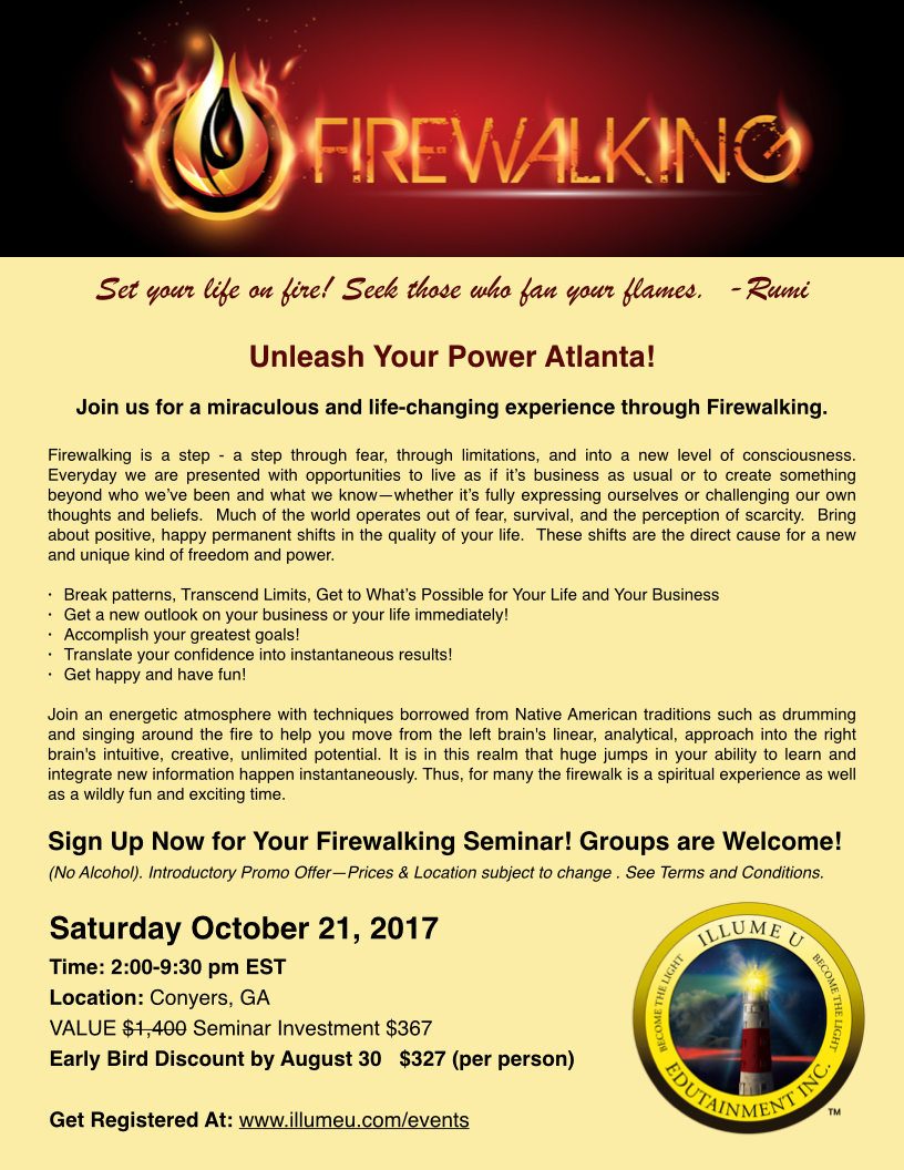 Firewalking Seminar, Saturday, October 21-2017